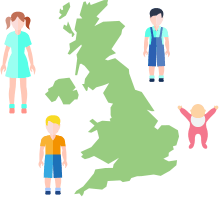 children with map of the uk